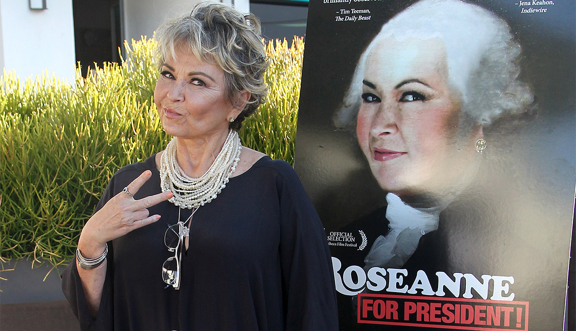 Roseanne Barr poses with Roseanne for President poster