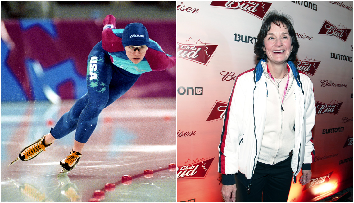 item 8, Gallery image. Bonnie Blair competes at the 1994 Winter Olympic Games; Blair at the 2010 Winter Olympics as a spectator