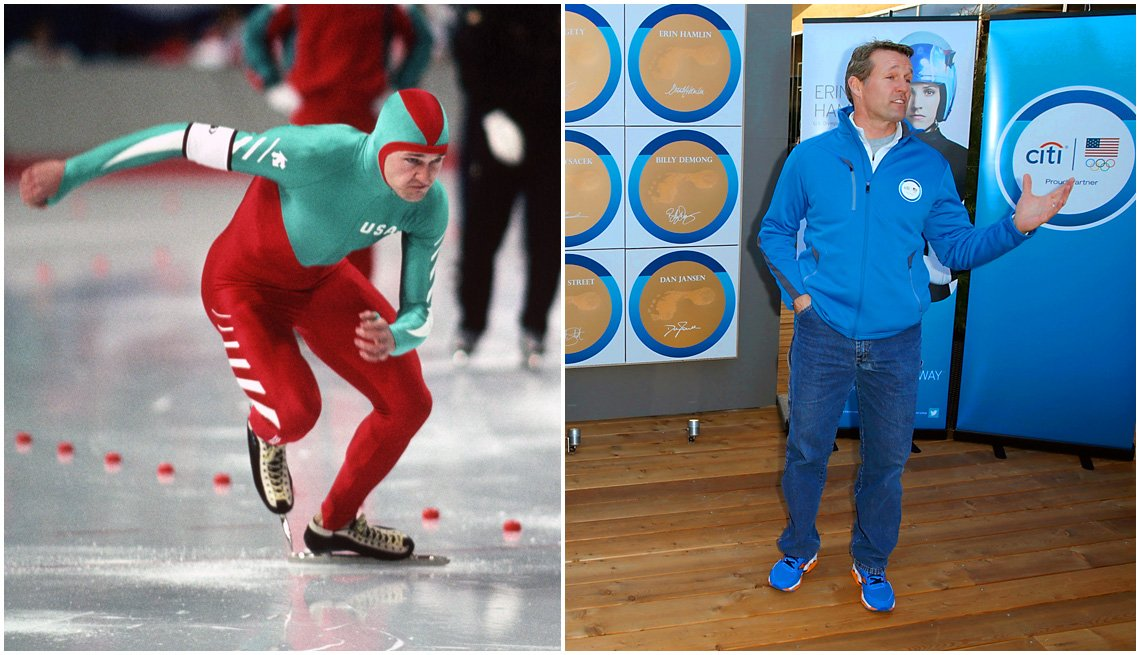item 2, Gallery image. Dan Jansen competing at the 1988 Calgary Winter Olympic Games; Jansen at the 2014 Sochi Winter Olympics
