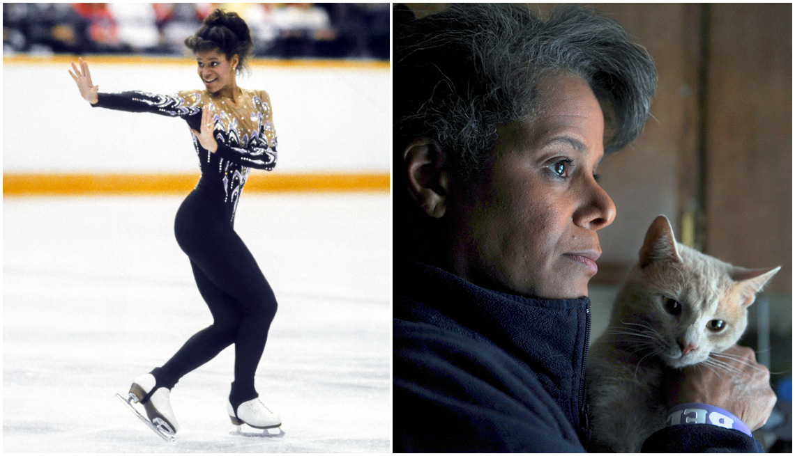 item 4, Gallery image. Debi Thomas competing at the 1988 Winter Olympic Games; a 2016 photo of Thomas at her house with her cat