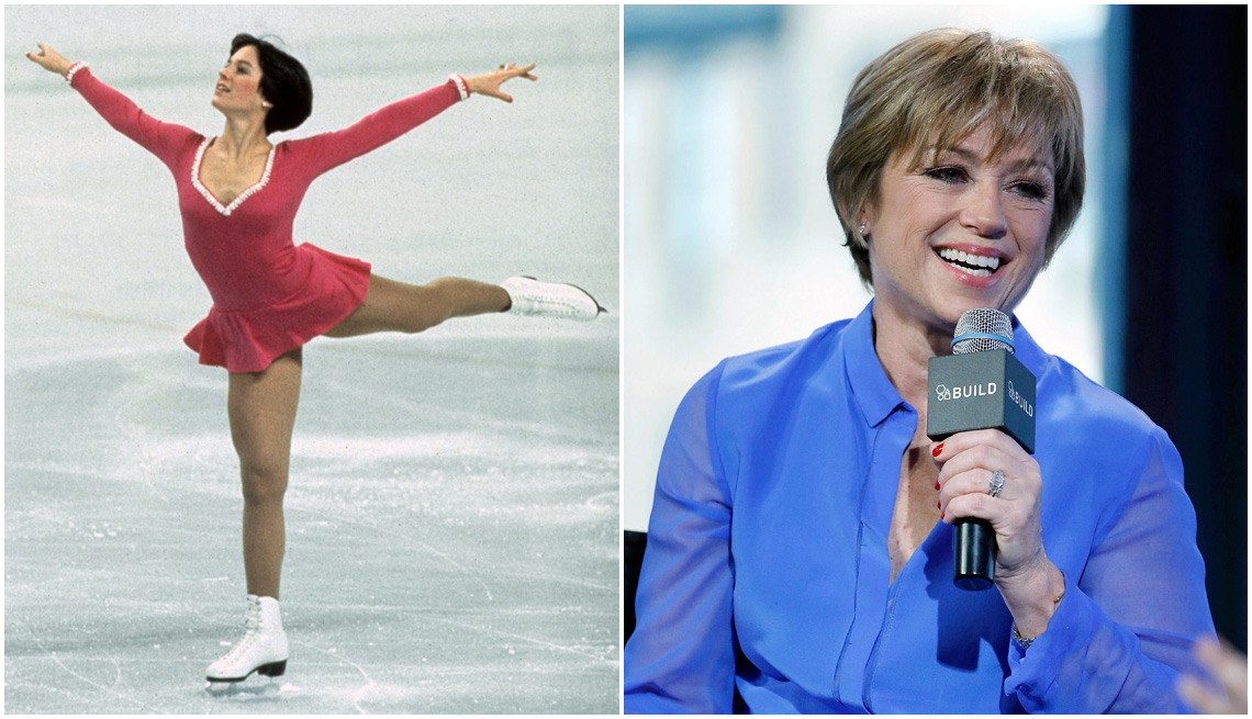 item 6, Gallery image. Figure skater Dorothy Hamill at the 1976 Winter Olympics; Hamill at a speaking event in 2016
