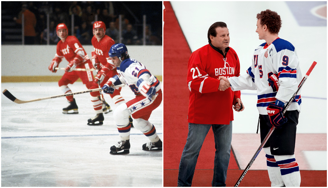 item 3, Gallery image. Mike Eruzione (front) playing for Team USA in 1980; Eruzione (left) in 2014 cheering on USA National Jr. Team