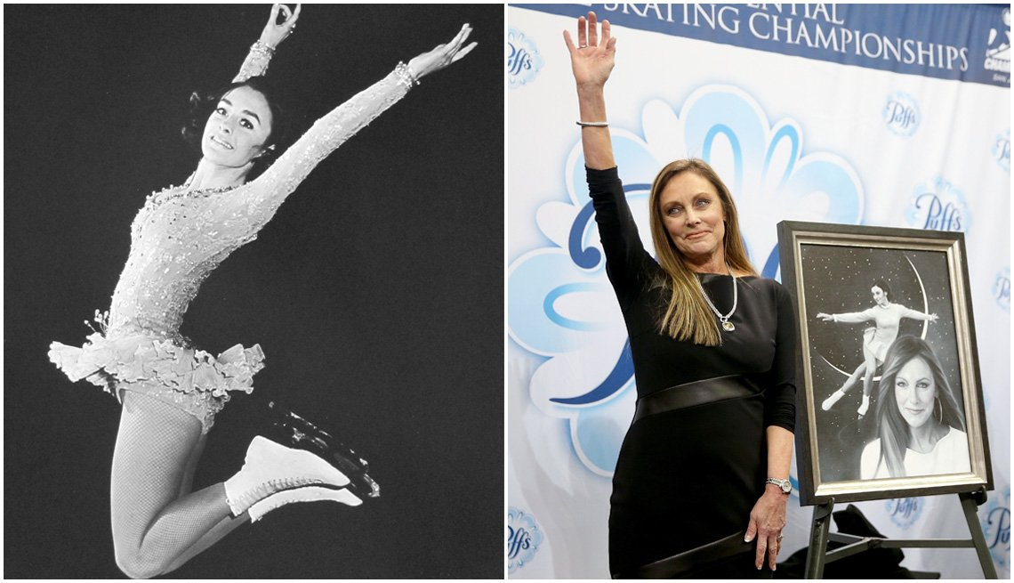 item 1, Gallery image. Figure skater Peggy Fleming in 1968; Fleming at the 2018 Prudential U.S. Figure Skating Championships