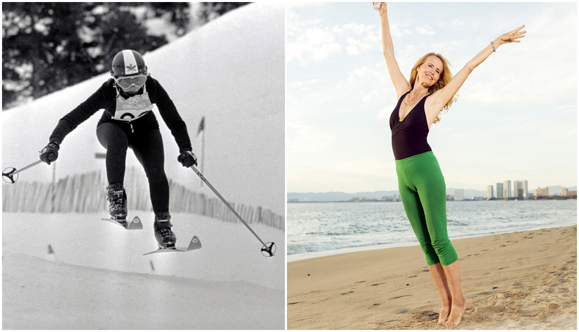 """item 5, Gallery image. Ski racer Suzy Chaffee at the 1968 Winter Olympics; Chaffee at a 2015 photo shoot for """"AARP The Magazine"""""""