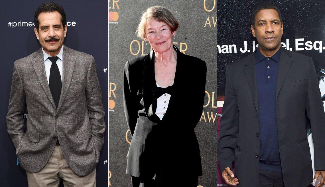Actors Tony Shaloub, Glenda Jackson, and Denzel Washington