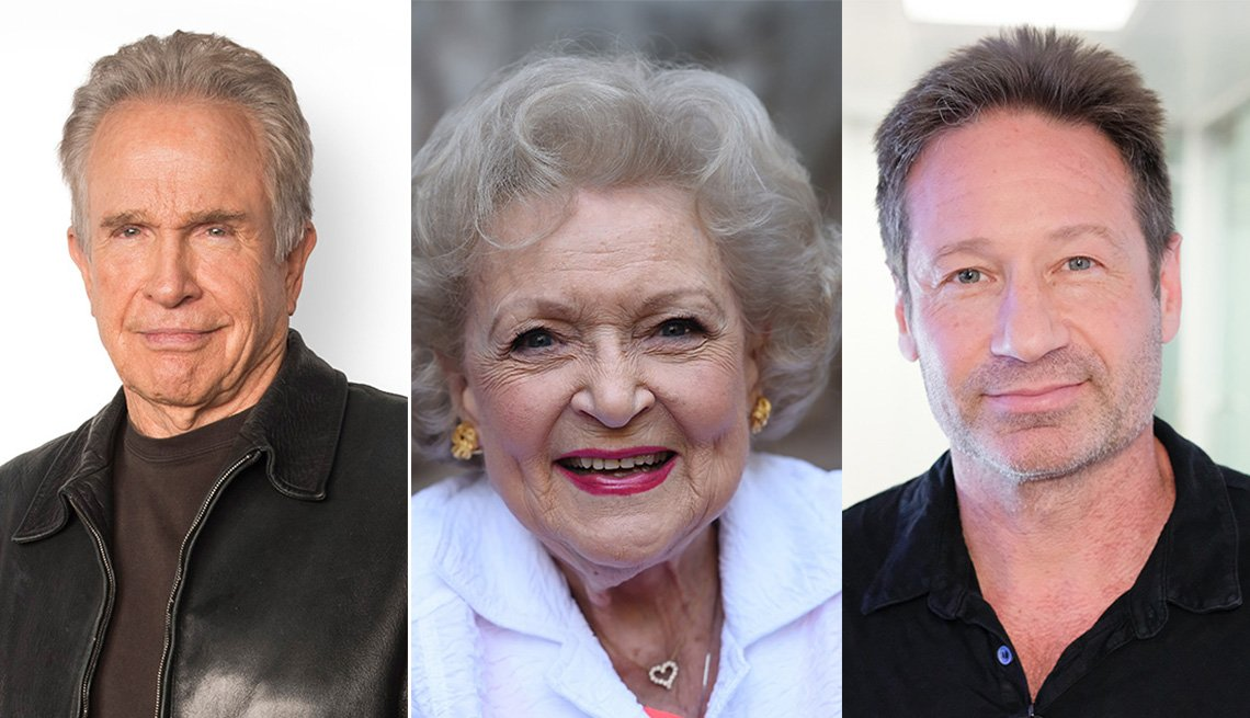 Photos of actors Warren Beatty, Betty White, David Duchovny
