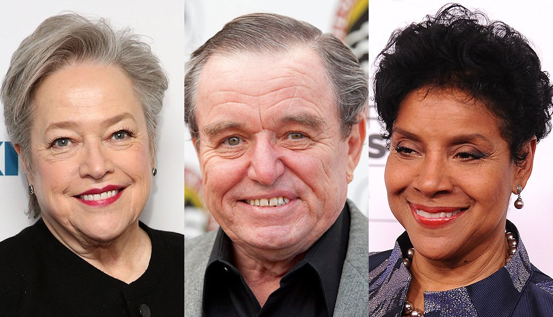 An edited photo of three headshots: Kathy Bates, Jerry Mathers and Phylicia Rashad