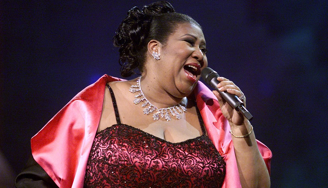 Aretha Franklin on stage.