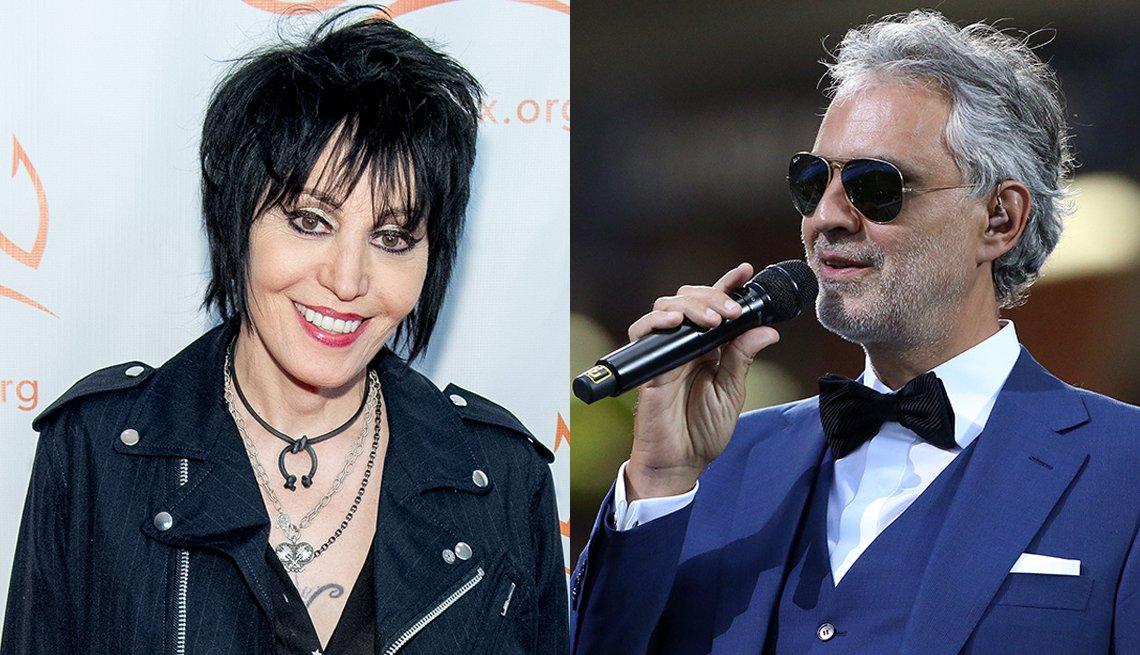 Photos of Joan Jett and Andrea Bocelli