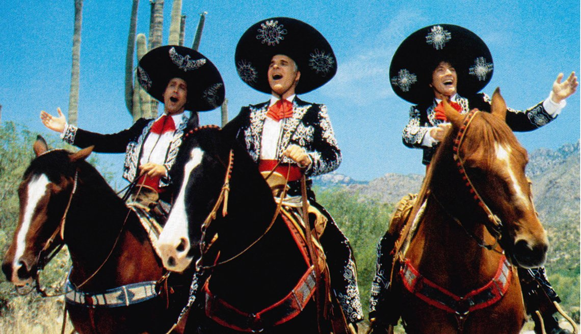 Chevy Chase, Steve Martin and Martin Short riding horses