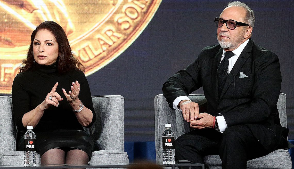 Gloria Estefan, and Emilio Estefan speak during the PBS segment of the 2019 Winter Television Critics Association Press Tour.