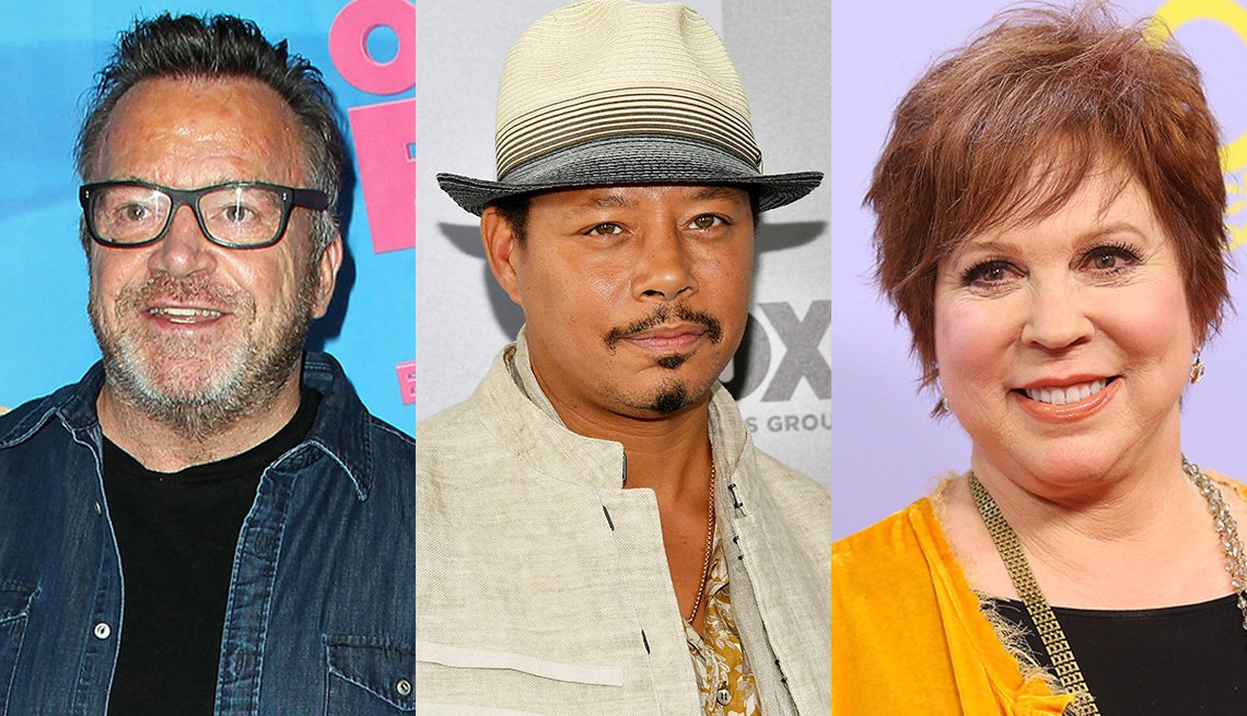 Headshots of Tom Arnold, Terrence Howard and Vicki Lawrence