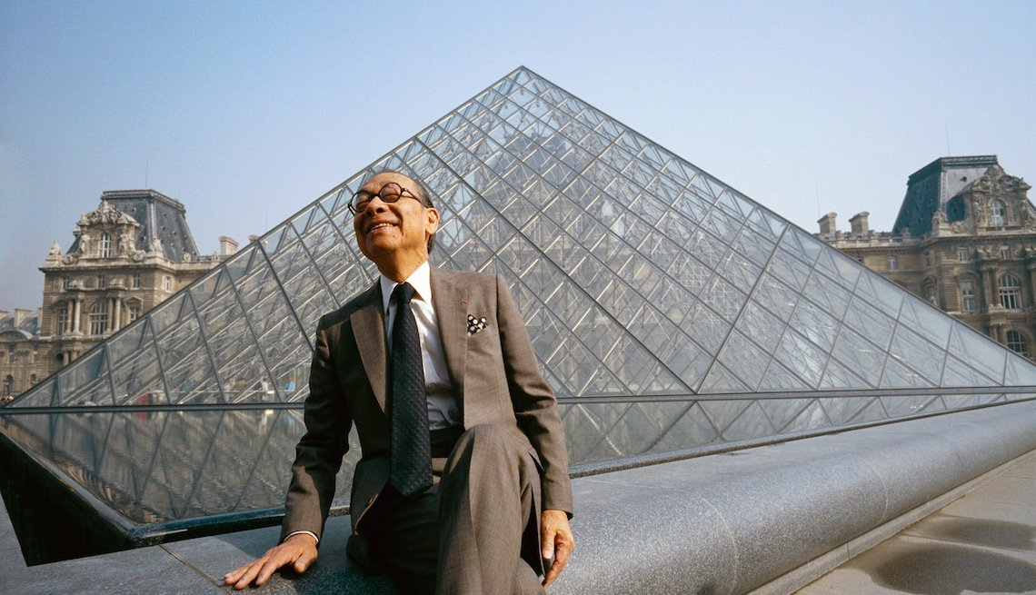 Architect I.M. Pei sits near the Louvre's Pyramid Entrance, which he designed.