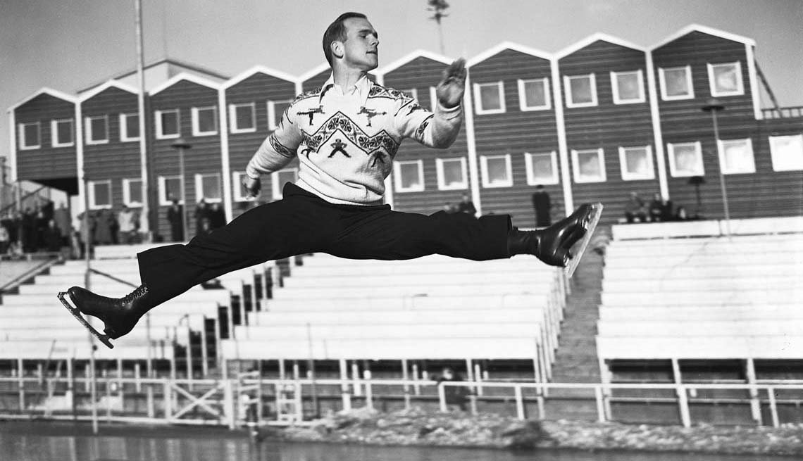 item 5 of Gallery image - Dick Button, former figure skating champion of the world, is shown tuning up at Oslo to defend his Olympic title in the Winter Games in 1952.