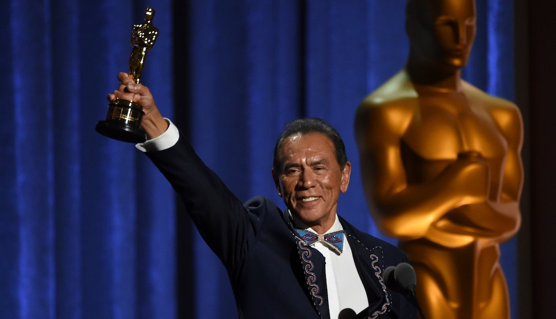 Wes Studi accepts an honorary award at the Governors Awards on Sunday, Oct. 27, 2019, at the Dolby Ballroom in Los Angeles.