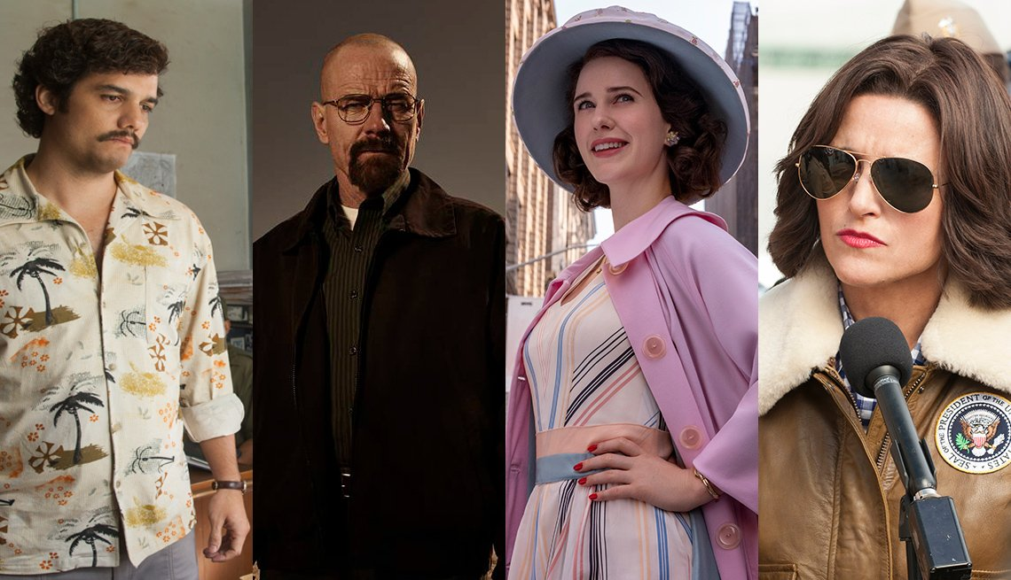 Narcos, Breaking Bad, The Marvelous Mrs. Maisel, Veep