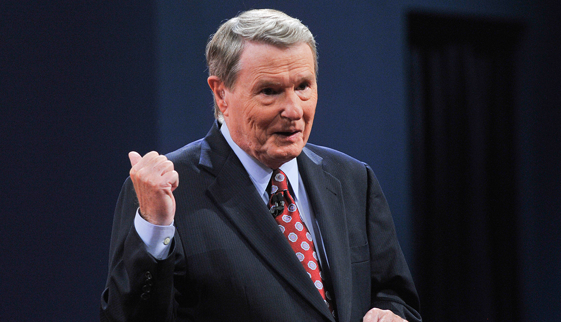item 64 of Gallery image - Jim Lehrer speaks to the audience before moderating the first presidential debate between President Barack Obama and Republican challenger Mitt Romney in Denver Colorado on October Third 2012