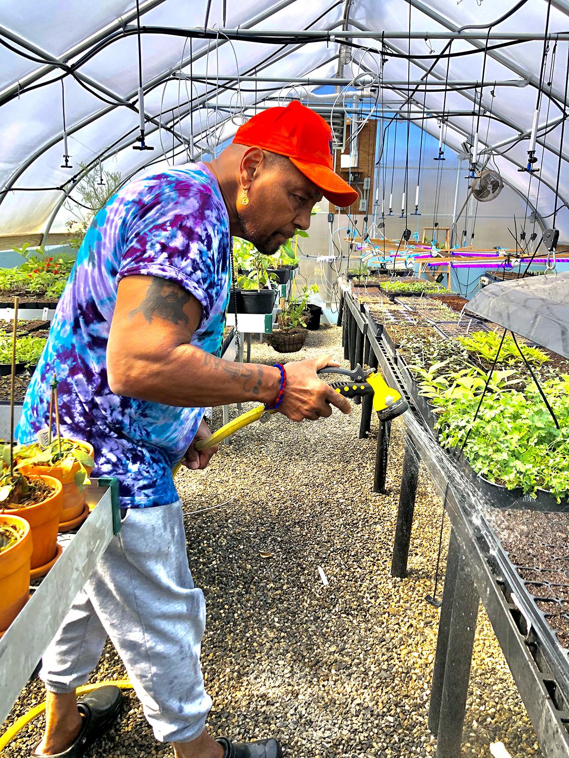 Aaron Neville colocando agua a unas plantas en un invernadero.