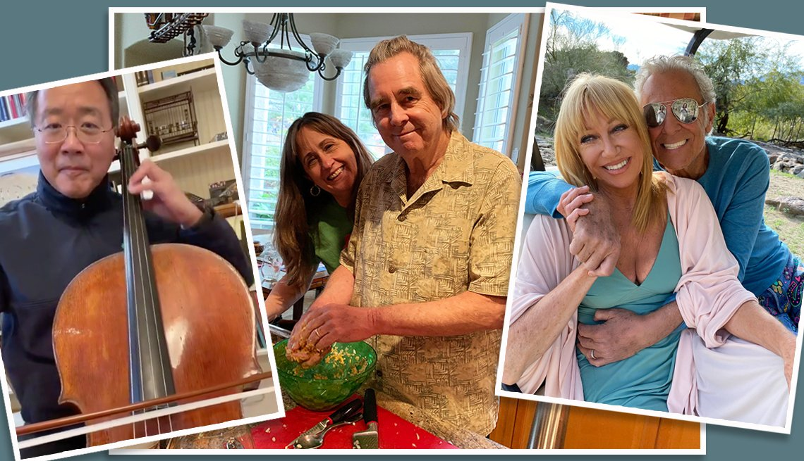 composite of snapshots from celebrities yo yo ma beau bridges and suzanne somers