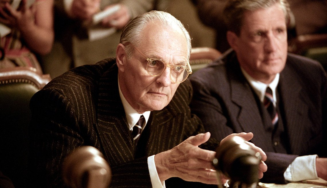 film still of actor alan alda in the two thousand and four film the aviator in a courtroom or congress scene