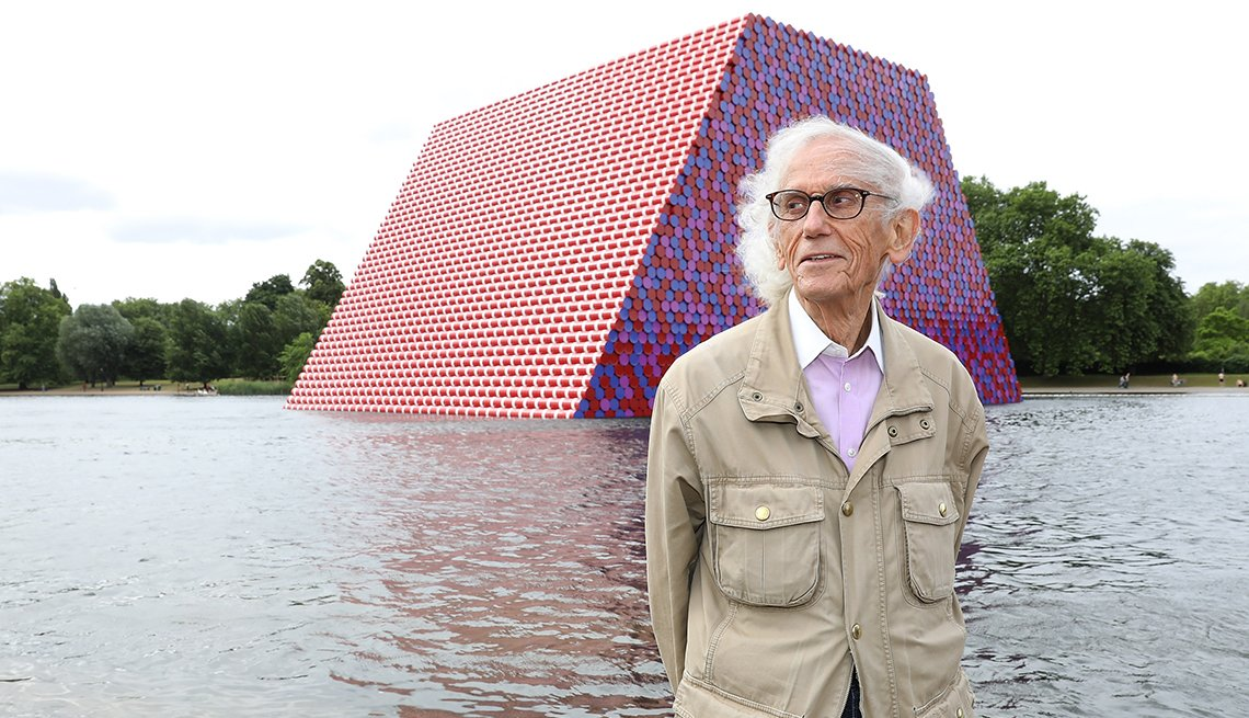 item 38 of Gallery image - Artist Christo unveils his first U K outdoor work in London England.