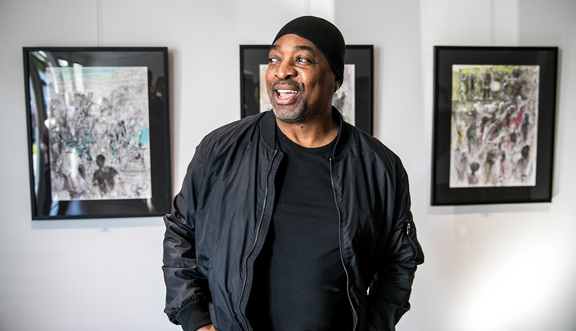 item 1 of Gallery image - Chuck D appears at the launch of his first solo art exhibition in Pasadena California