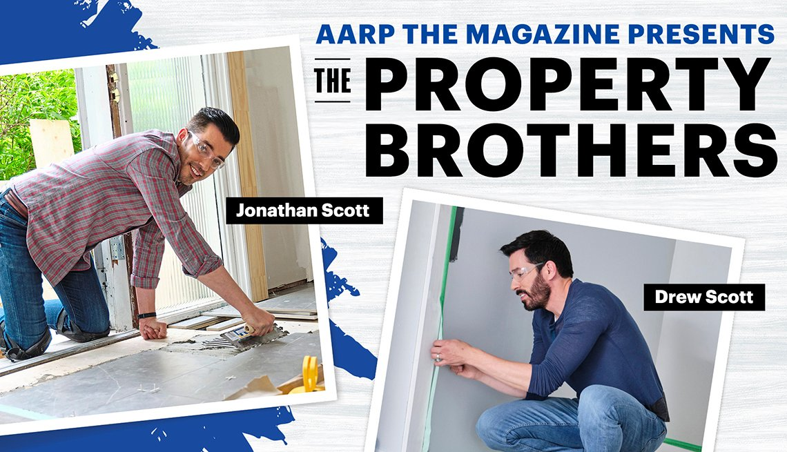 An illustration for the A A R P live interactive Q and A event starring the Property Brothers Drew and Jonathan Scott