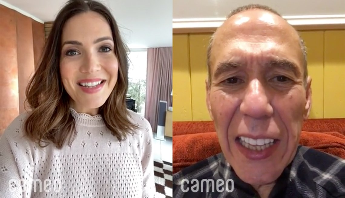 Mandy Moore and Gilbert Gottfried recording video message on Cameo