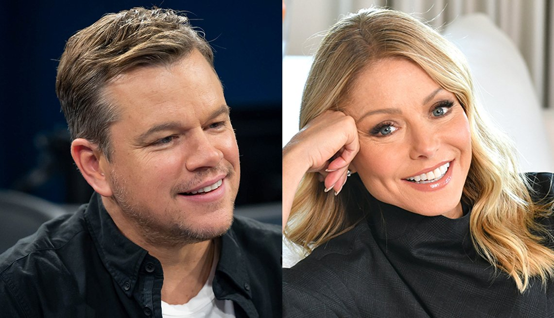 Side-by-side images of Matt Damon and Kelly Ripa