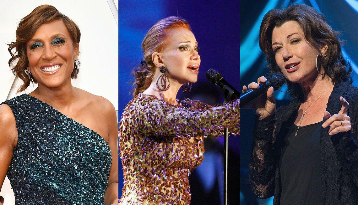 La presentadora Robin Roberts, la cantante española Paloma San Basilio y la cantante Amy Grant.