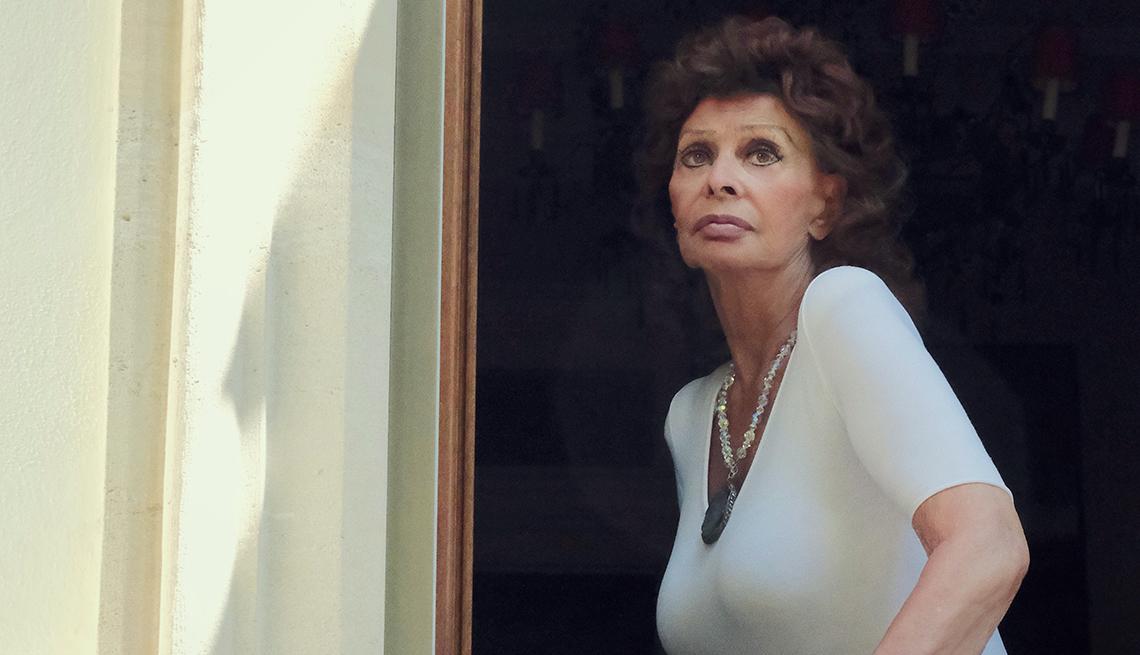portrait of sophia loren as shot from outside a window