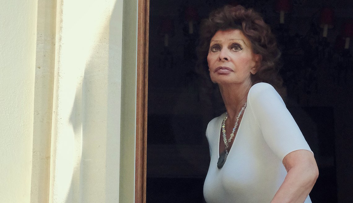 portrait of sophia loren as shot from outside a window