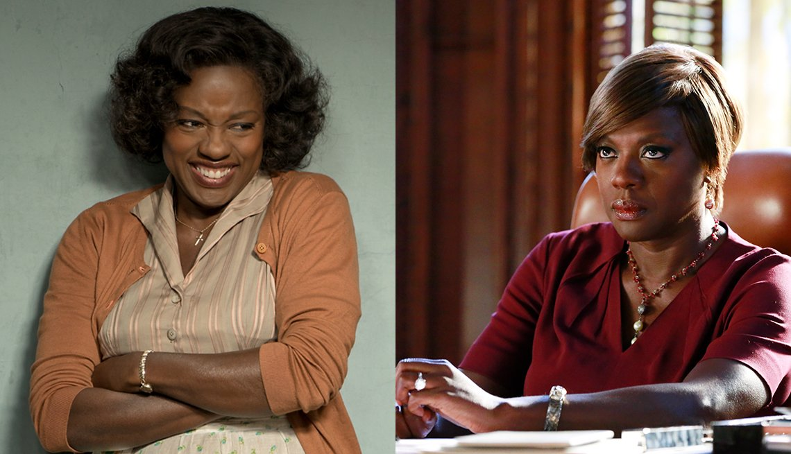 viola davis film stills from two of her major roles in fences and in how to get away with murder