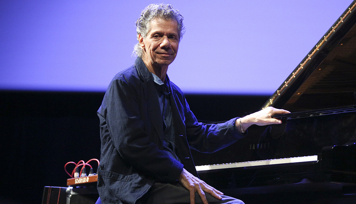 item 44 of Gallery image - Chick Corea sits in front of a piano during his performance at the World of Great Music concert in Poland