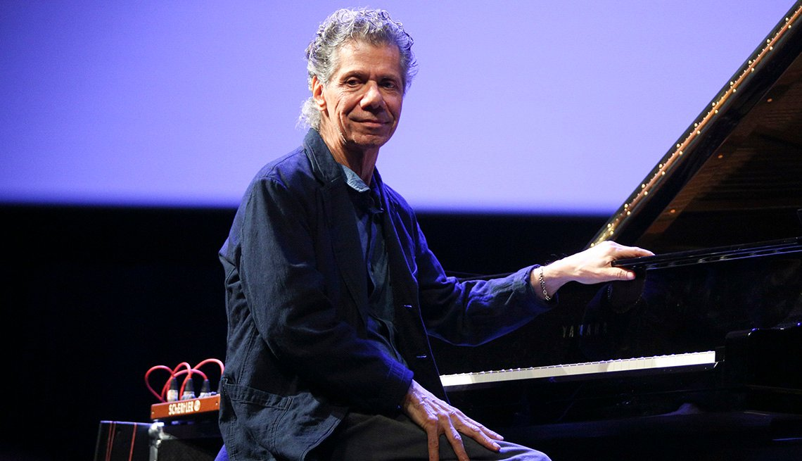 item 14 of Gallery image - Chick Corea sits in front of a piano during his performance at the World of Great Music concert in Poland