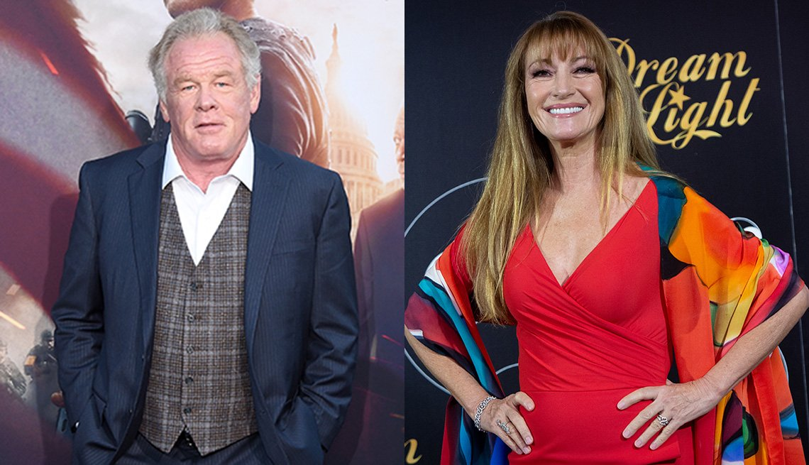 Side by side images of Nick Nolte and Jane Seymour