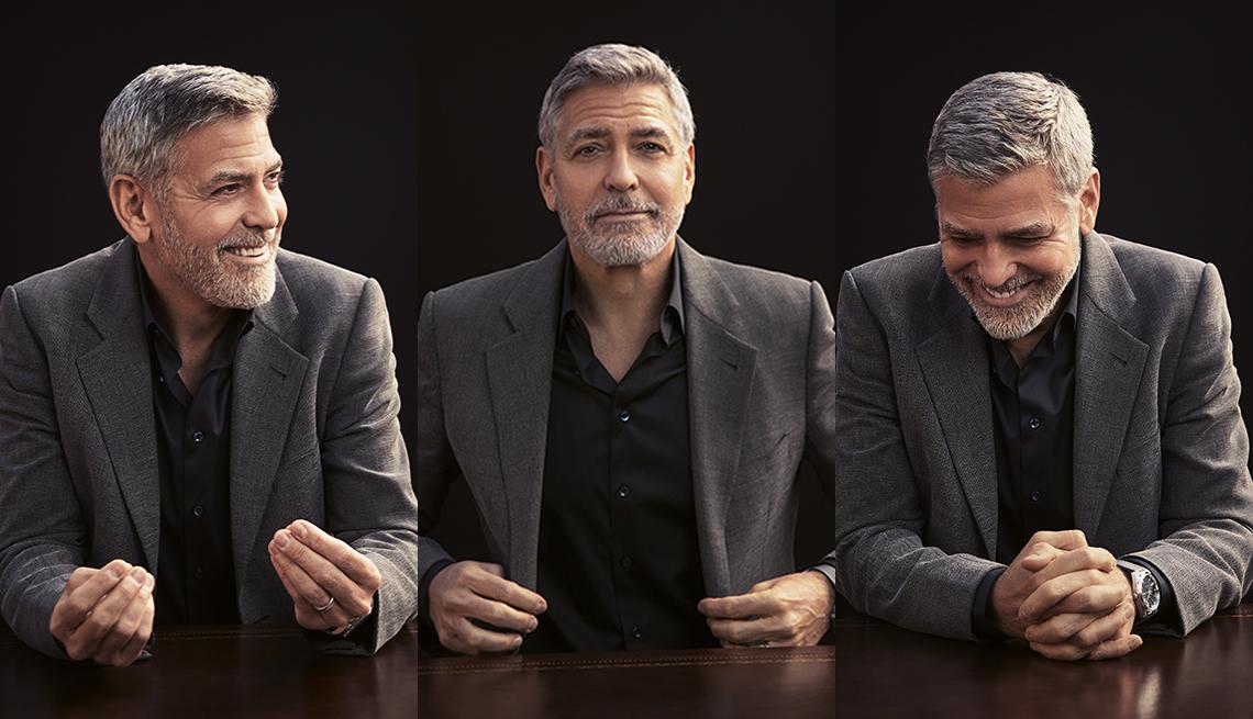 Un tríptico de George Clooney sonriendo y riendo.