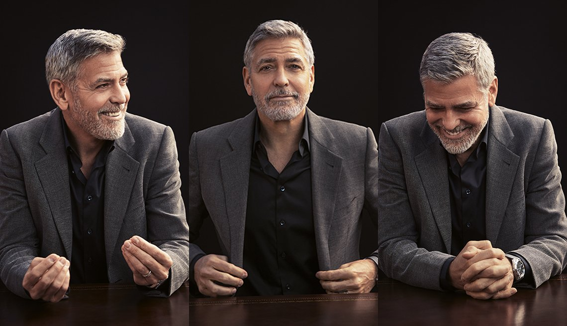 triptych of george clooney smiling and laughing