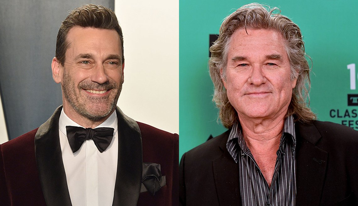 Side by side images of Jon Hamm and Kurt Russell