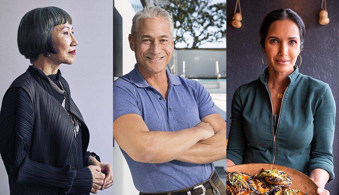 La escritora Amy Tan, el saltador de trampolín olímpico Greg Louganis y la chef y personalidad de TV, Padma Lakshmi.
