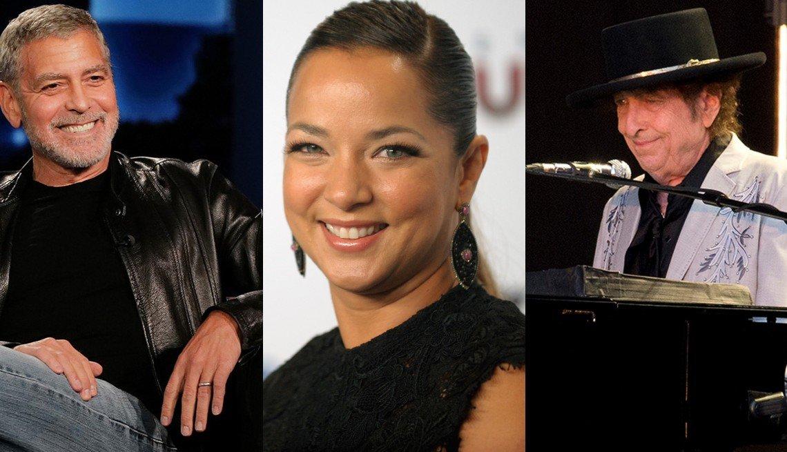 (De izq. a der.) George Clooney, Adamari López y Bob Dylan.