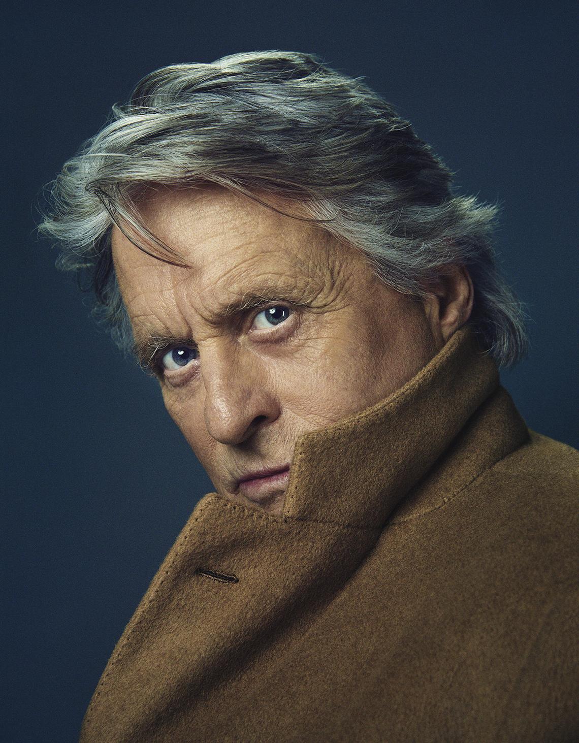 closeup portrait of actor michael douglas