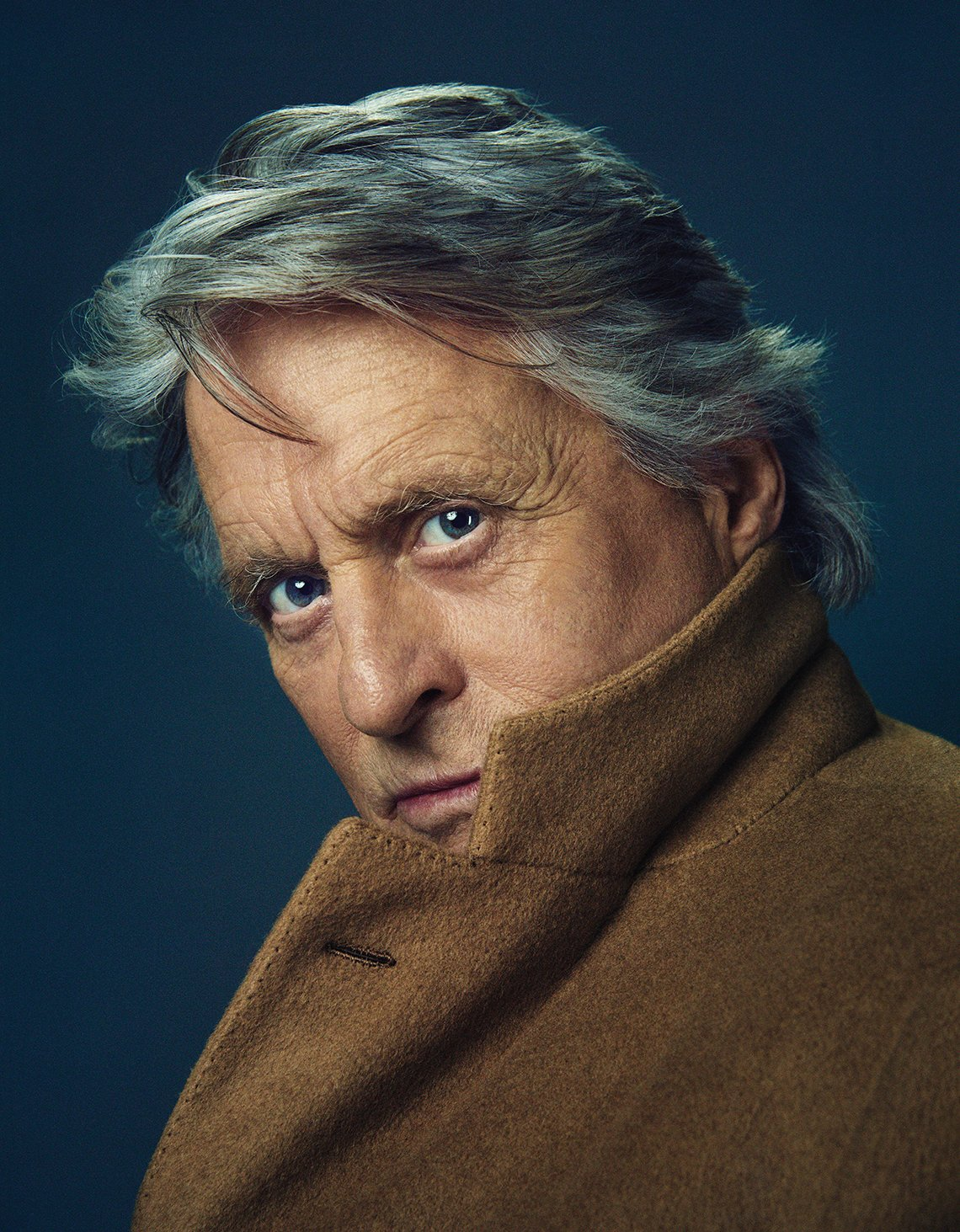 closeup portrait of actor michael douglas