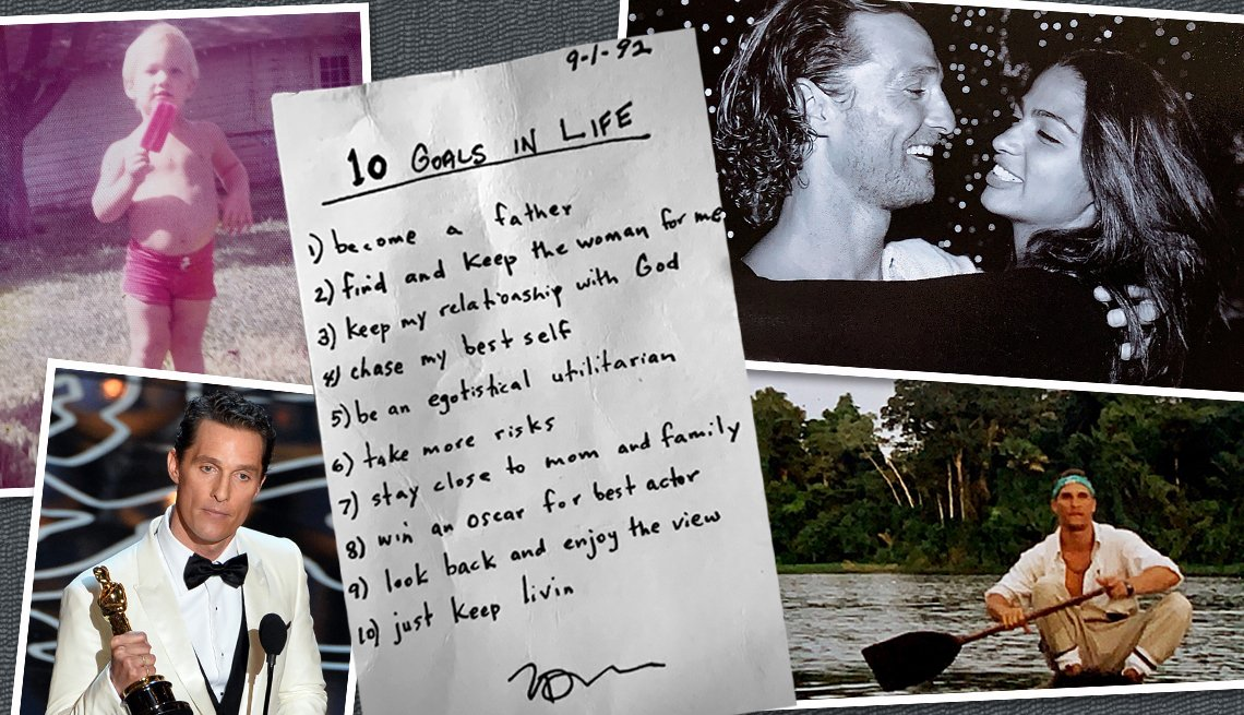 collage of images courtesy of matthew mcconaughey include him as a small boy a list of life goals he wrote in nineteen ninety two and other personal photos