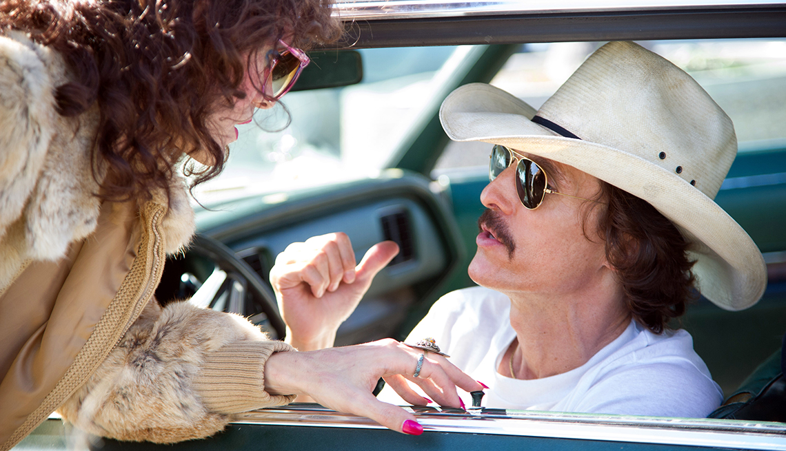 film still from the dallas buyers club with jared leto and matthew mcconaughey