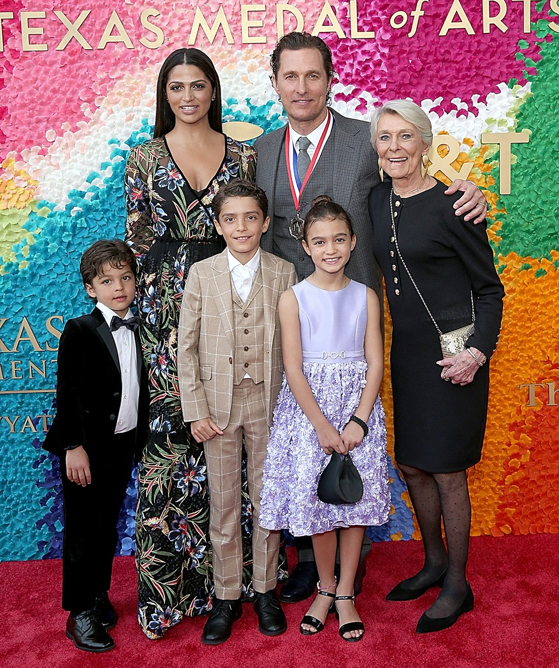 actor matthew mcconaughey with family on red carpet