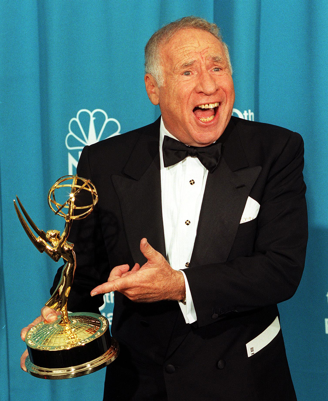 Mel Brooks points to his Emmy award after winning at the 50th Annual Primetime Emmy Awards