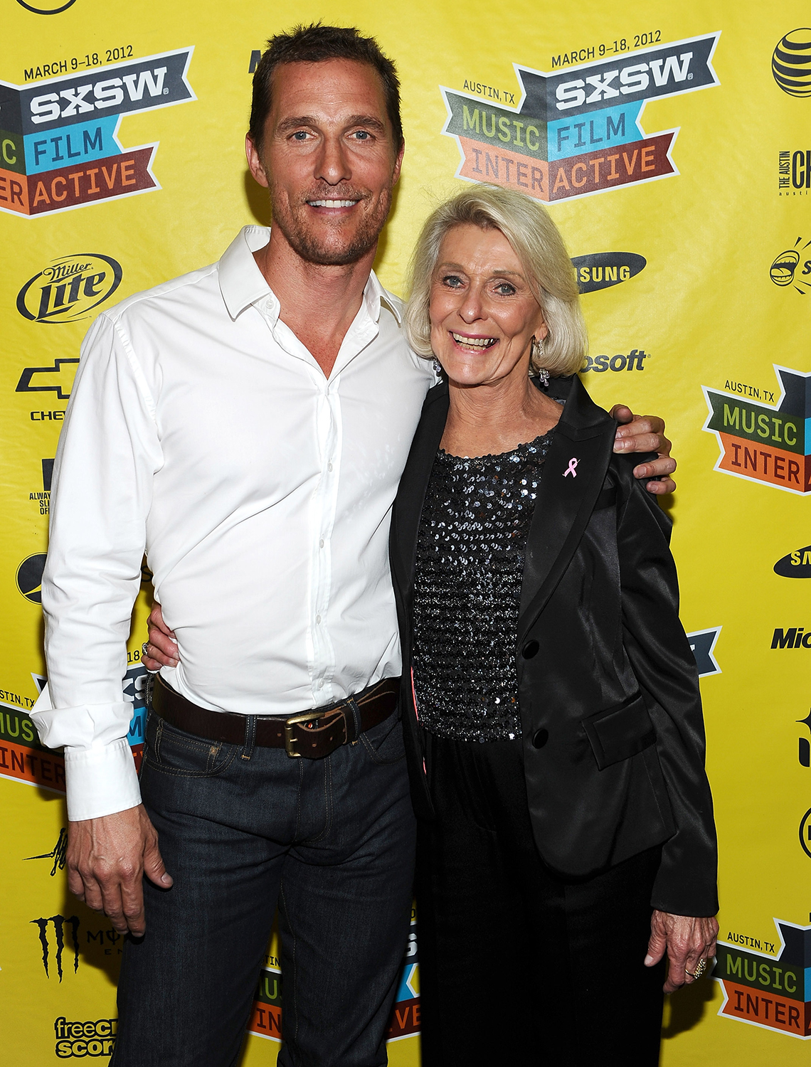 actor matthew mcconaughey and his mom at a film festival