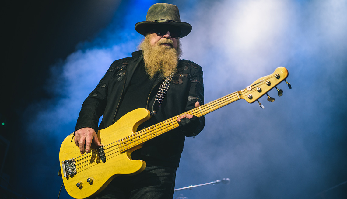 Bassist Dusty Hill of ZZ Top performs onstage