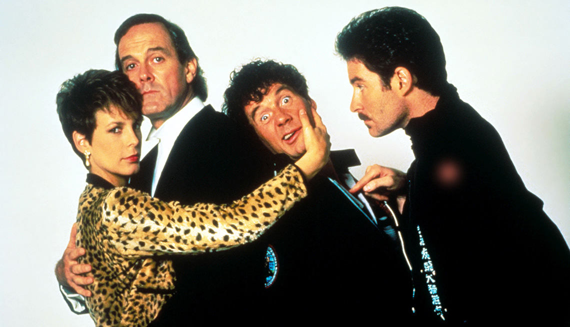 Jamie Lee Curtis, John Cleese, Michael Palin and Kevin Kline star in the film A Fish Called Wanda